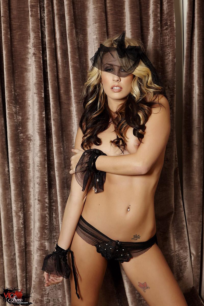 Kiara Diane Blonde Glamour Girl Lifts Black Veil