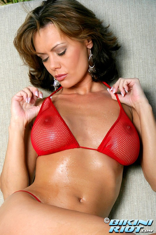 Crissy Moran Juicy Ass in Red Fishnet Thong Bikini