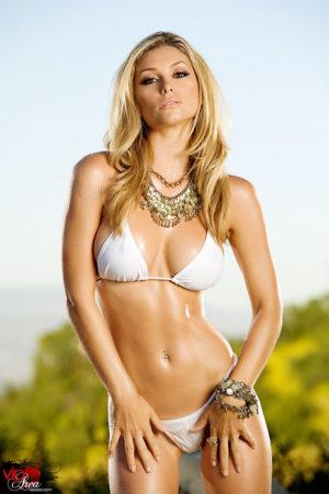 Heather Vandeven Seductive Blonde Drops White Bikini