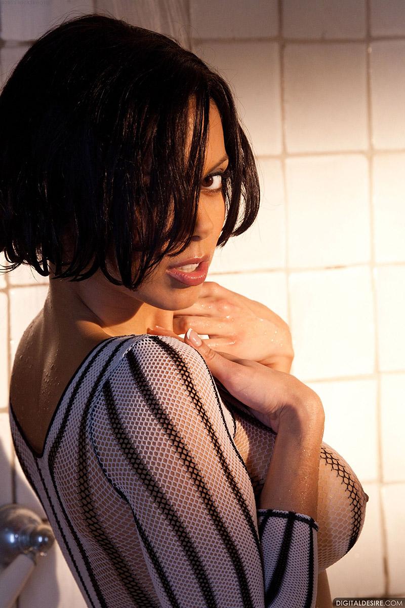 Julia Luba Busty Brunette Teases in Shadowy Shower