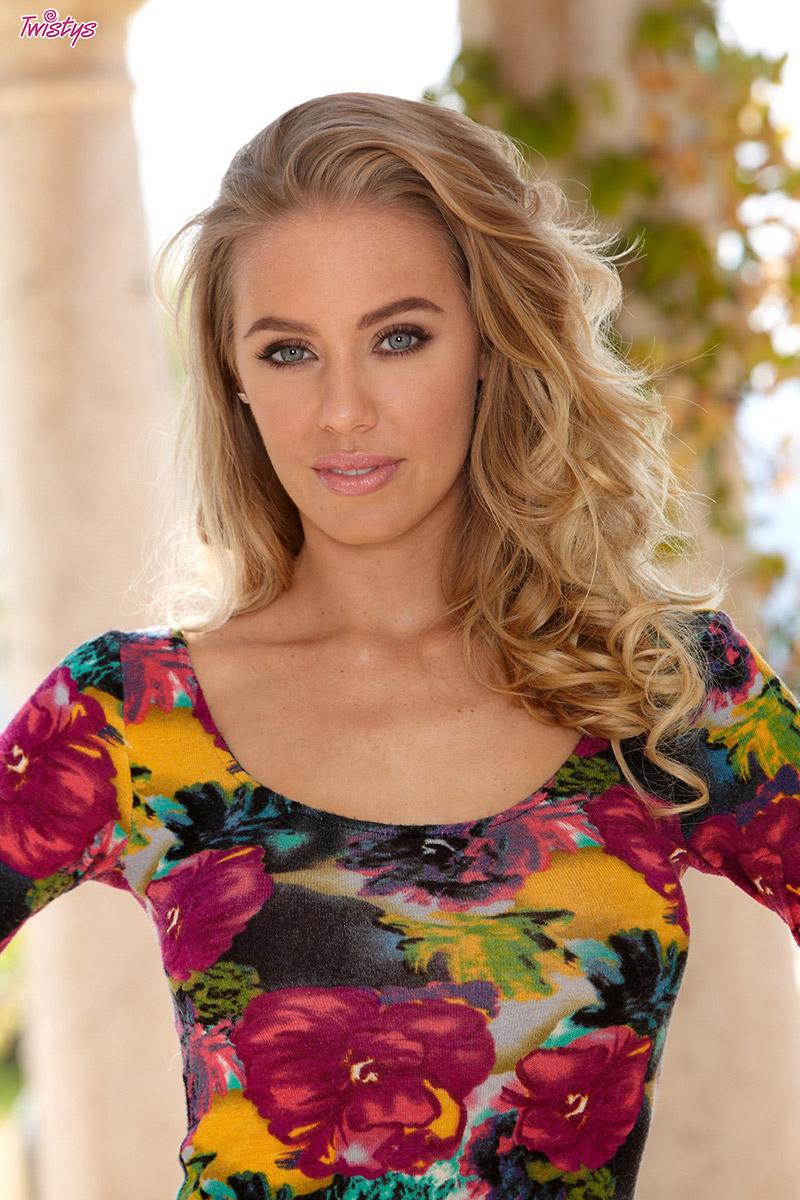 Nicole Aniston Busty Blonde Pornstar Lowers Flowered Dress