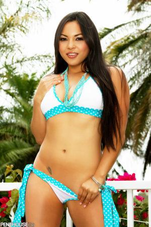 Adrianna Luna Mexican Vixen Strips Skimpy Bikini