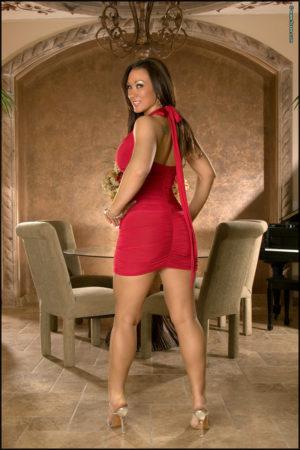 Ashley Dawn Busty Brunette Sheds Red Dress