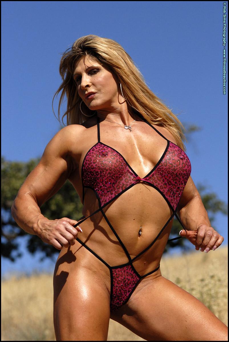 Nikki Fuller Buff Bodybuilder Flexes Muscles in String Bikini