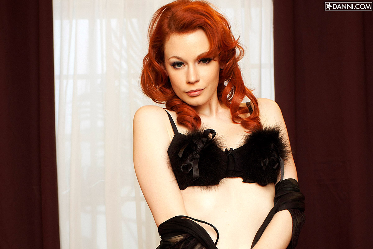 Justine Joli Tight Body Ravishing Redhead Strips Black Nightie