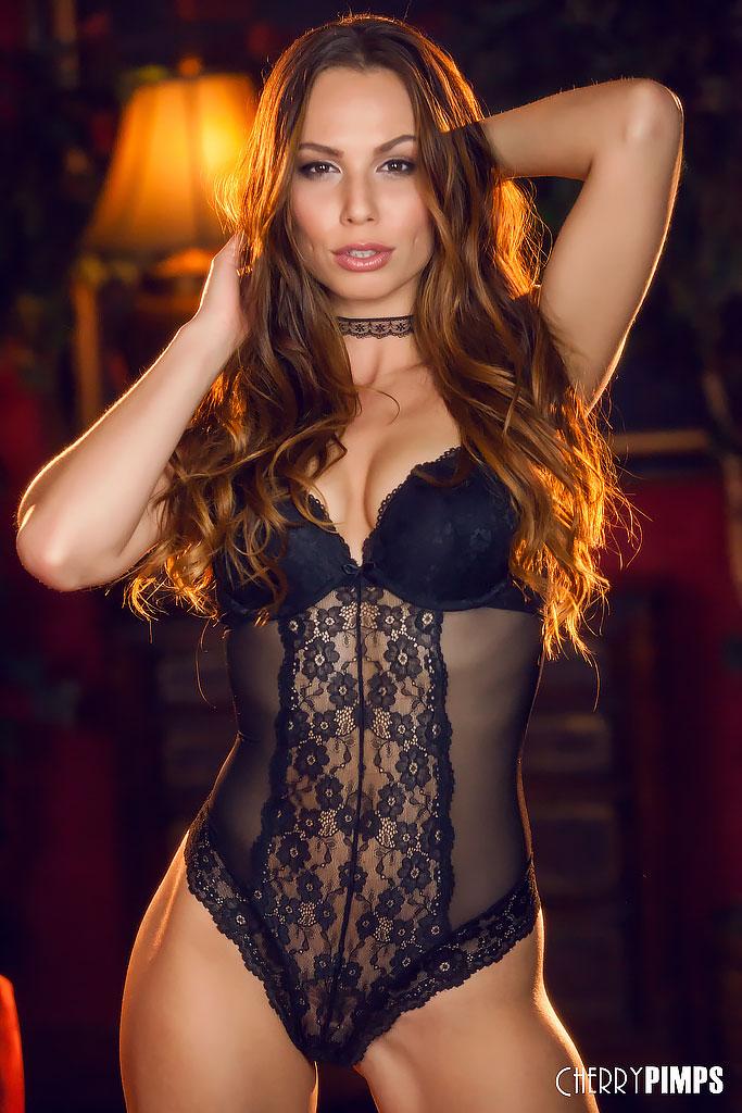Aidra Fox Stunning in Black Lingerie