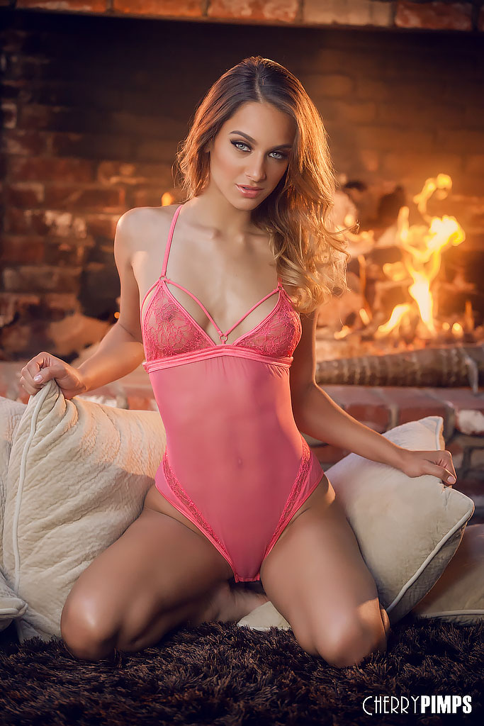 Uma Jolie Wows in Sheer Pink Teddy
