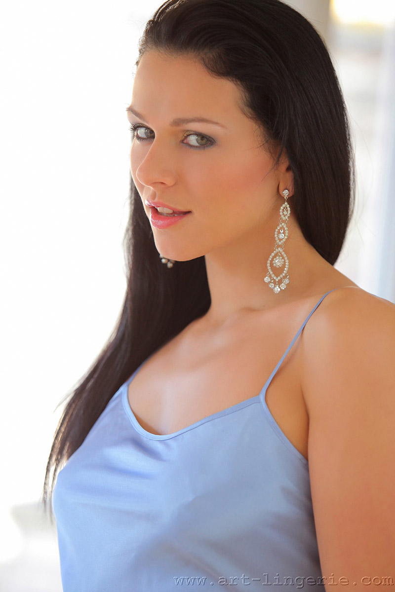 Katerina Nova Czech Beauty in Blue Silk and Black Stockings