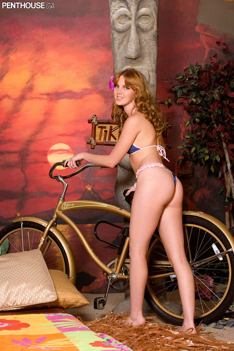Marie McCray Fun Redhead Combines Bikinis and Bikes