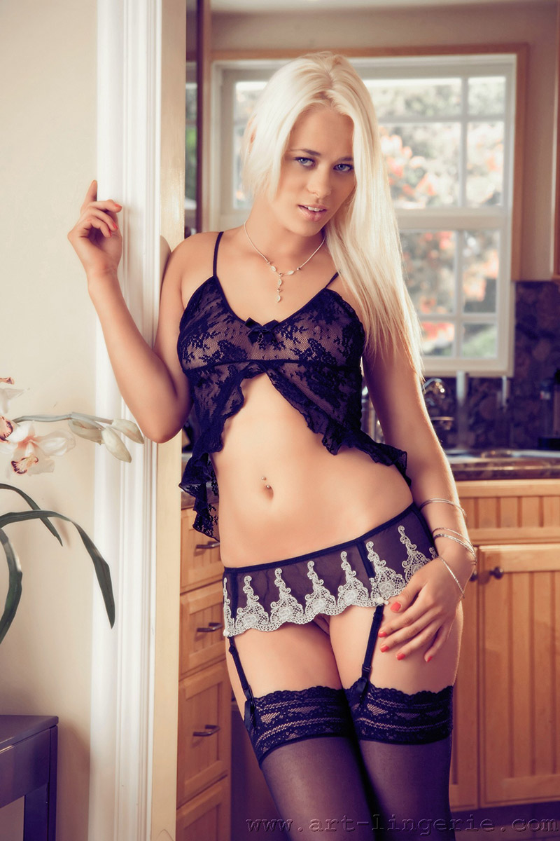 Rebecca Blue Flirty Blonde in Camisole and Stockings