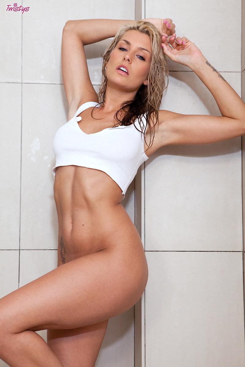 Natasha Marley Tattooed Blonde Bombshell in the Shower
