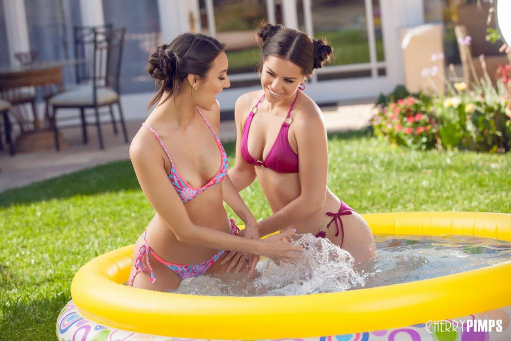 Alina Lopez and Eliza Ibarra Have Kiddie Pool Fun